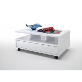 Table basse blanc laqué avec rangement