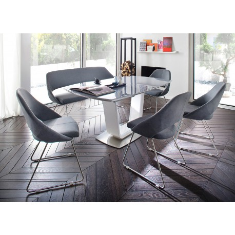 Table plateau verre gris extensible