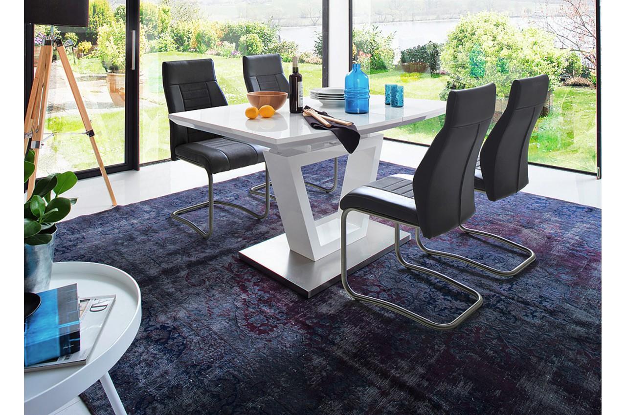 Table manger blanc laqu extensible cbc meubles for Table de salle a manger laque blanc avec rallonge