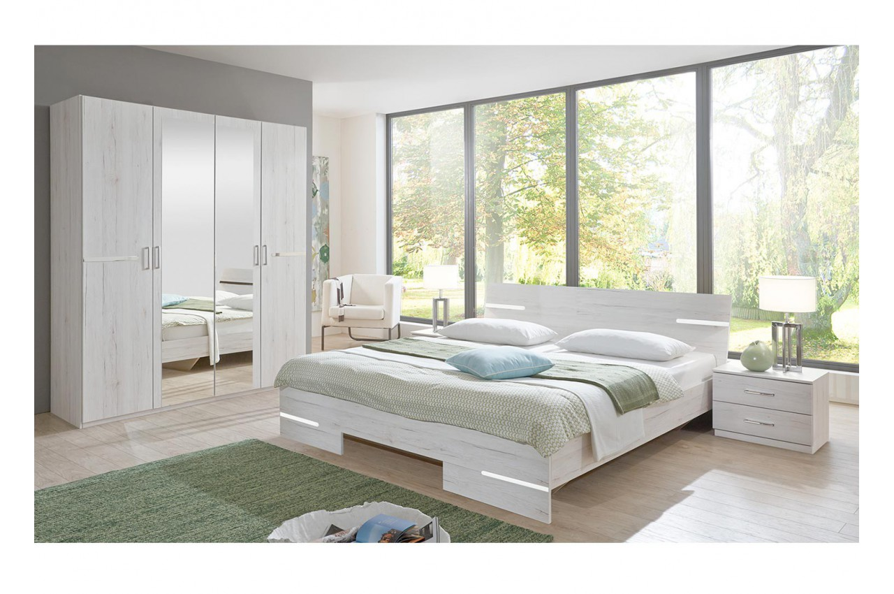 chambre adulte compl te ch ne blanc cbc meubles. Black Bedroom Furniture Sets. Home Design Ideas