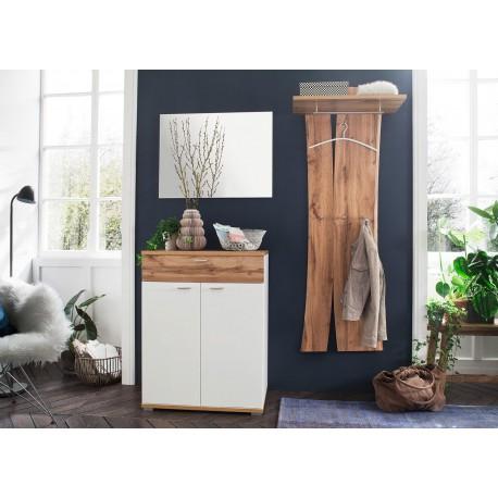 Meubles d'entrée design blanc et chêne wotan