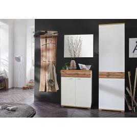 Ensemble de meubles d'entrée blanc et chêne wotan