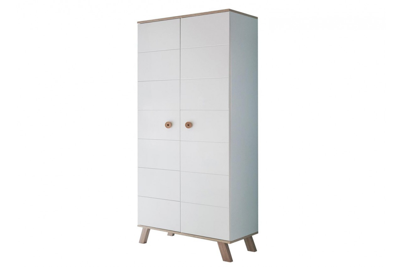 armoire enfant 2 portes blanche et ch ne cbc meubles. Black Bedroom Furniture Sets. Home Design Ideas