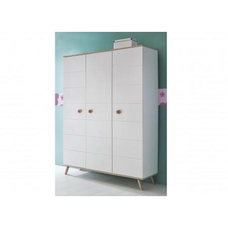 armoire enfant 3 portes blanche et ch ne cbc meubles. Black Bedroom Furniture Sets. Home Design Ideas
