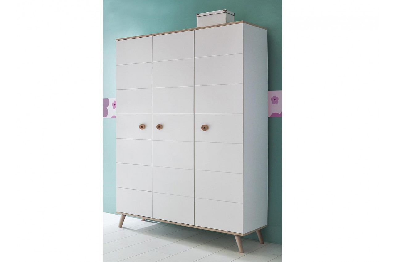 armoire enfant 3 portes blanche et ch ne cbc meubles. Black Bedroom Furniture Sets. Home Design Ideas