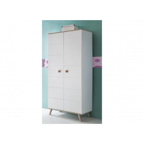 Armoire enfant 2 portes blanc et bois