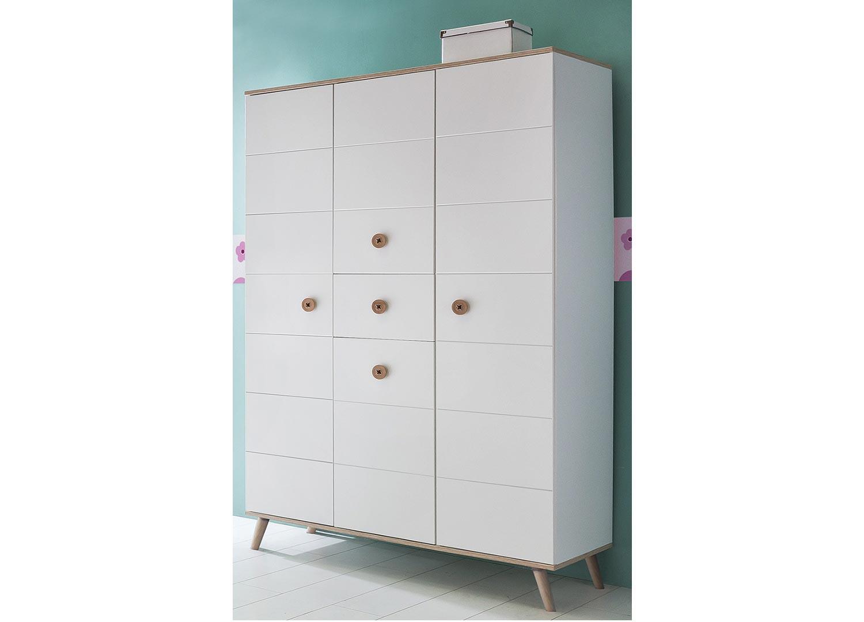 Armoire enfant 4 portes et 1 tiroir blanche et chêne