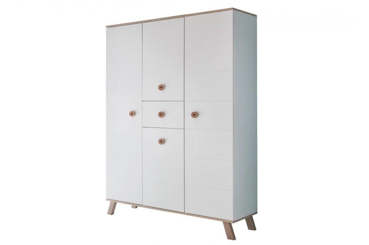armoire enfant 4 portes et 1 tiroir blanche et ch ne cbc. Black Bedroom Furniture Sets. Home Design Ideas