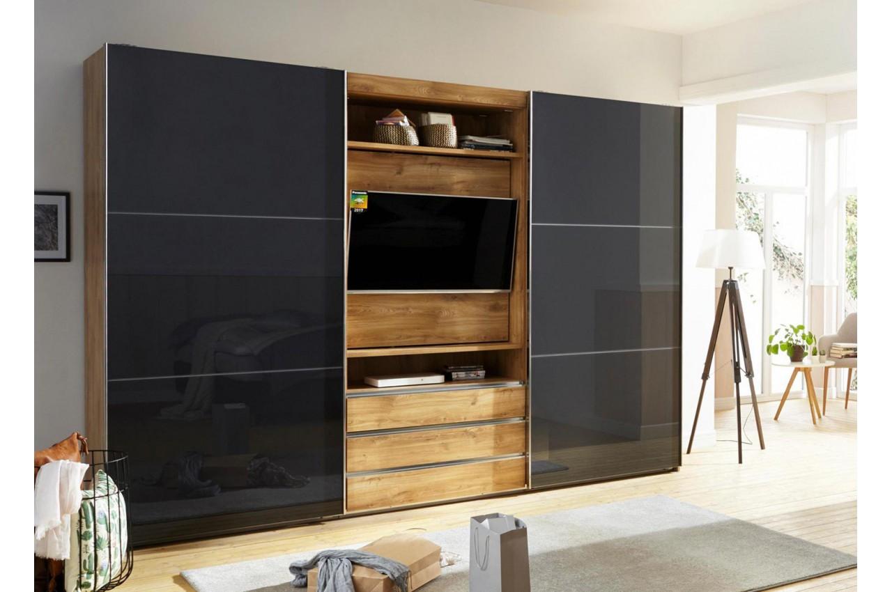 armoire portes coulissantes avec l ment tv cbc meubles. Black Bedroom Furniture Sets. Home Design Ideas