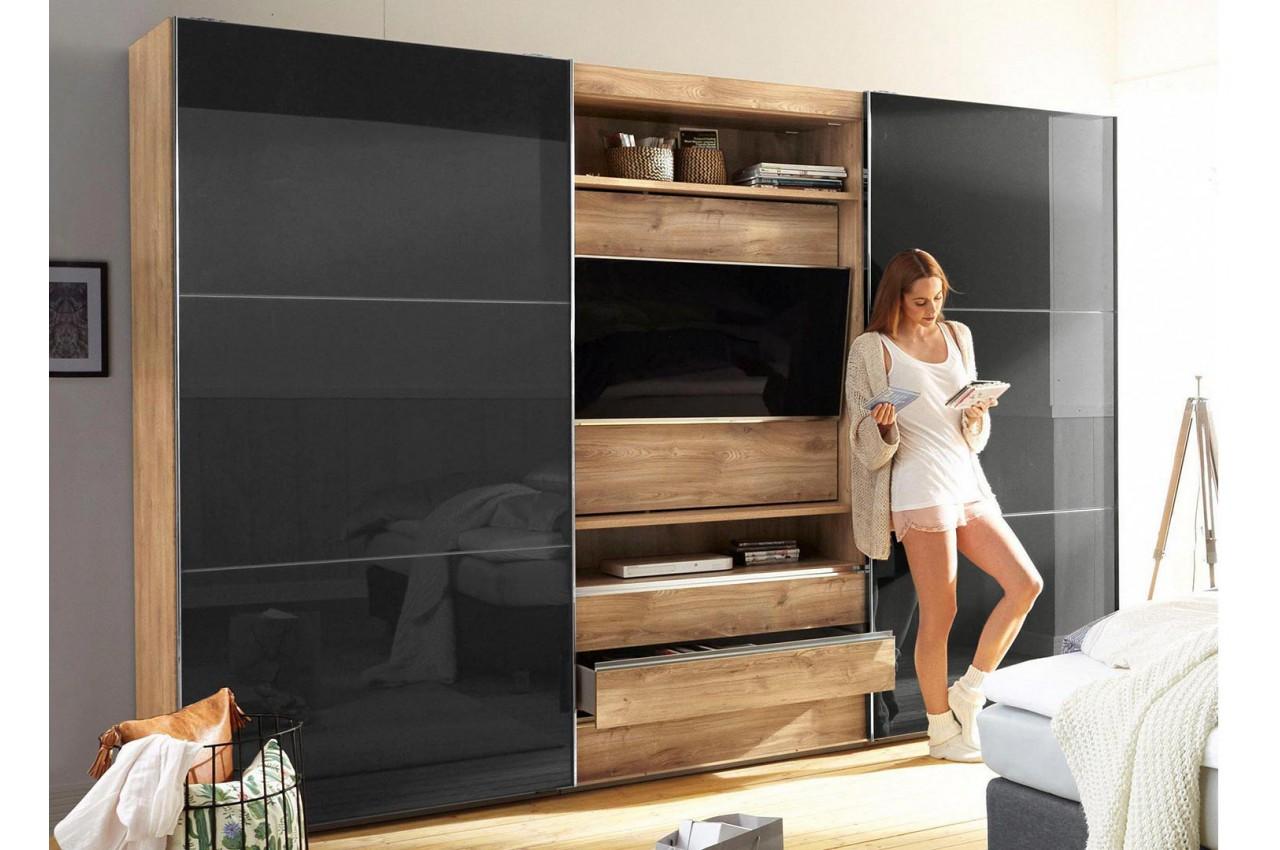Armoire De Chambre Avec Penderie armoire à portes coulissantes avec élément tv - cbc-meubles