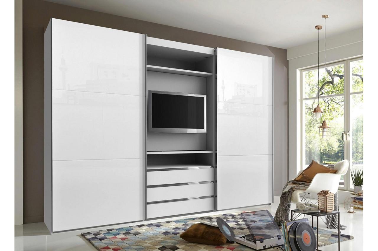 Placard À Portes Coulissantes armoire à portes coulissantes avec élément tv - cbc-meubles