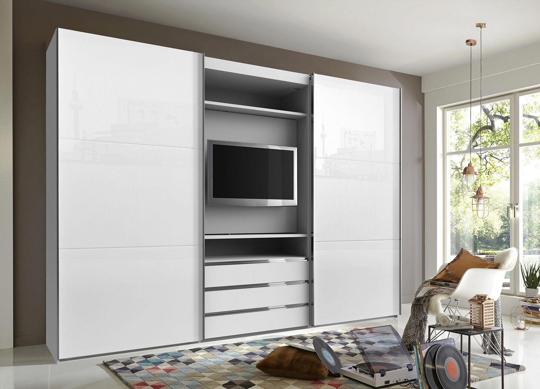 Armoire à portes coulissantes avec élément TV