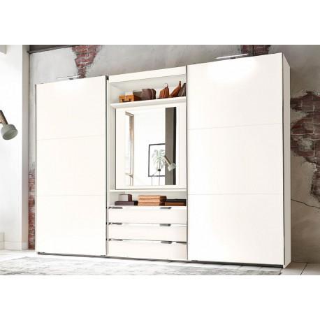 Armoire blanche à portes coulissantes avec élément TV