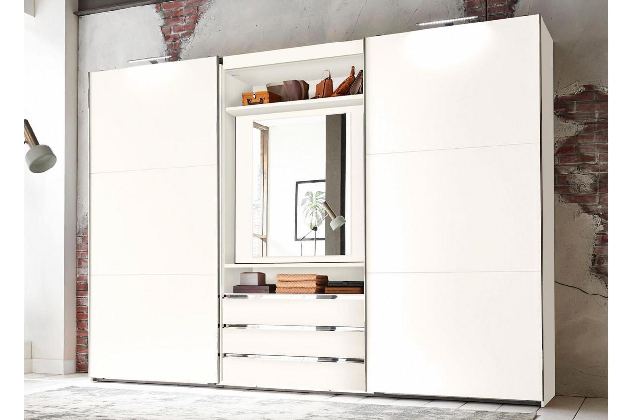 Armoire portes coulissantes avec miroir pivotant cbc for Armoire 3 portes coulissantes miroir