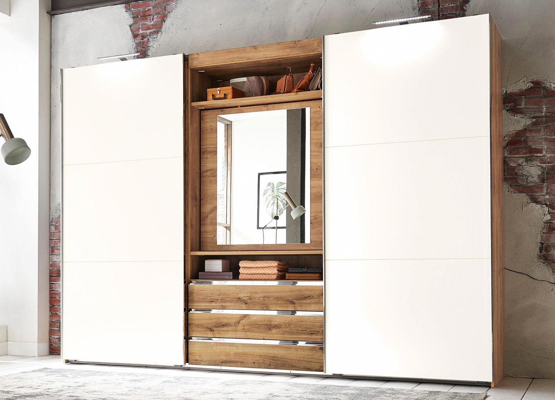 Armoire à portes coulissantes avec miroir pivotant
