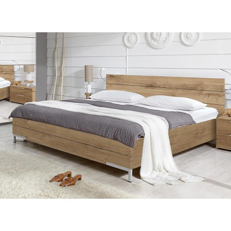 Lit adulte 180x200 cm ch ne poutre cbc meubles - Lit en bois moderne pour adulte ...