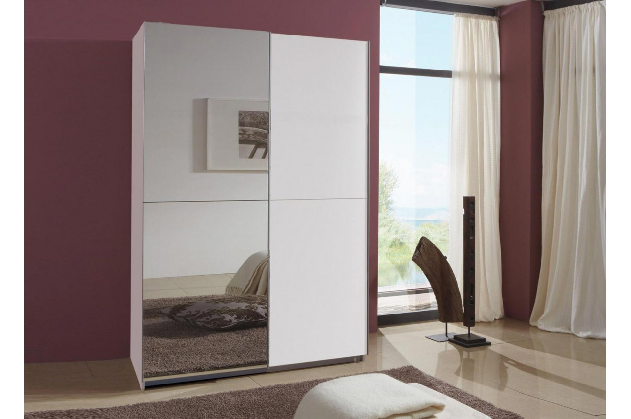 armoire portes coulissantes blanche 135 cm cbc meubles. Black Bedroom Furniture Sets. Home Design Ideas