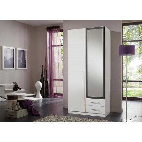 Armoire 2 portes et 2 tiroirs 90 cm avec miroir