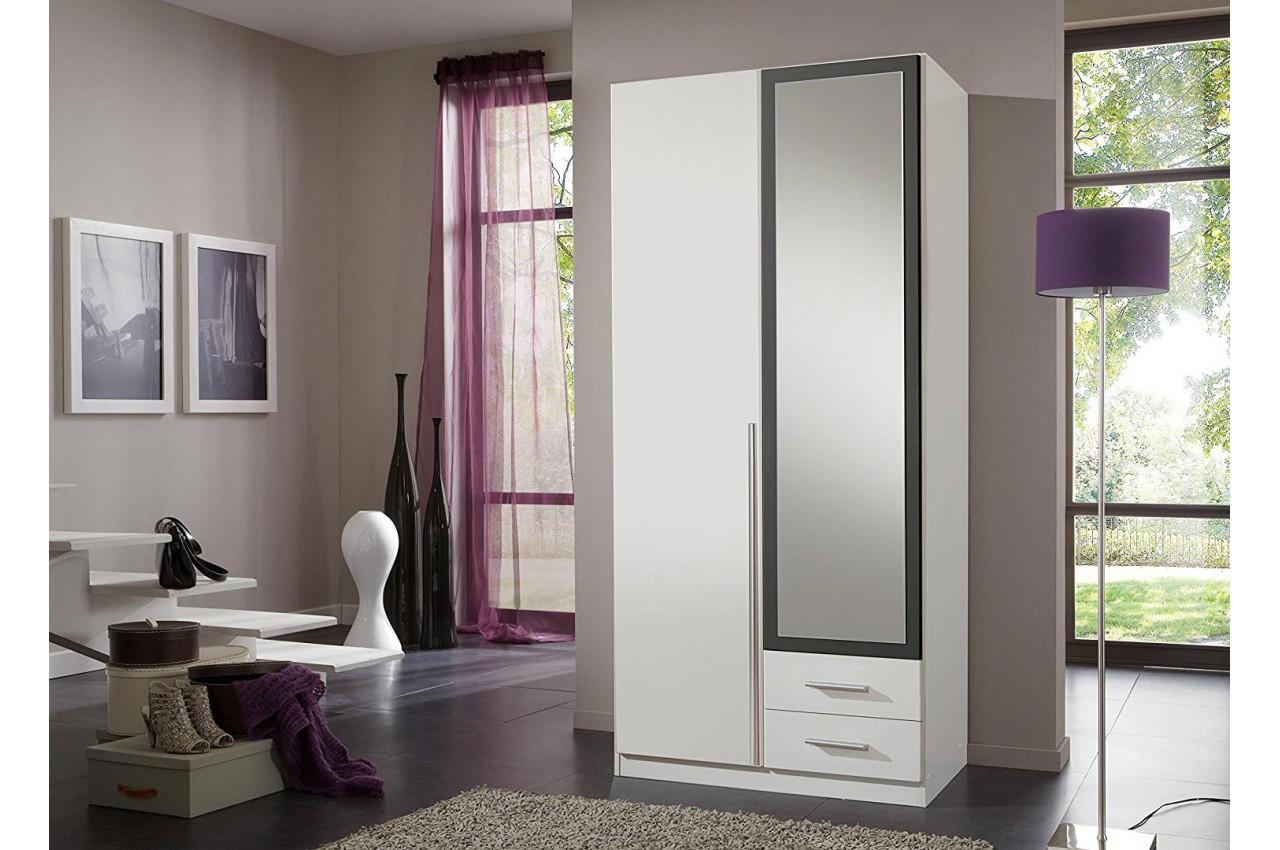 armoire 2 portes et 2 tiroirs 90 cm avec miroir cbc meubles. Black Bedroom Furniture Sets. Home Design Ideas