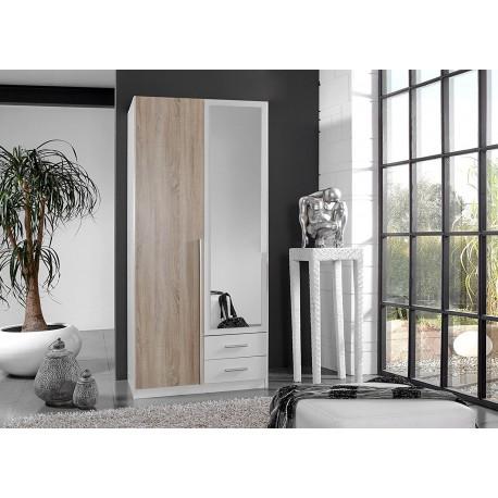 Armoire 2 portes blanche et chêne avec miroir