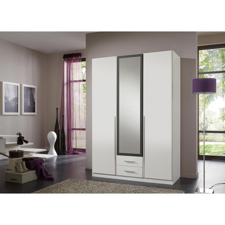 armoire 3 portes blanche pas cher 135 cm cbc meubles. Black Bedroom Furniture Sets. Home Design Ideas