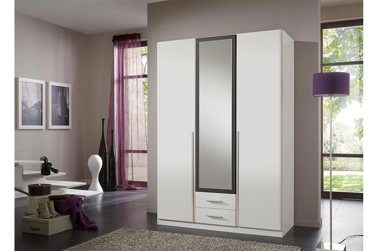 Armoire 3 portes blanche pas cher 135 cm cbc meubles for Chambre adulte blanche pas cher
