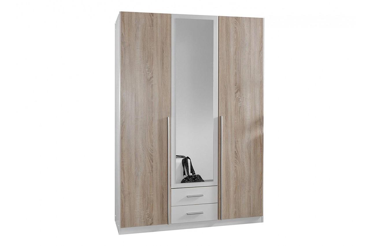 Armoire 3 portes pas cher 135 cm cbc meubles - Armoire blanche portes ...