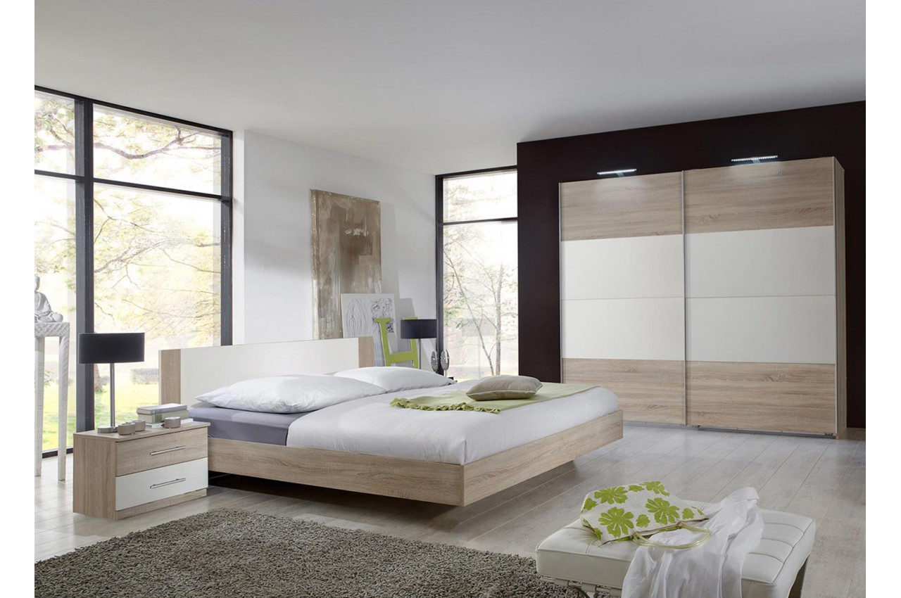 chambre coucher adulte pas cher ch ne clair cbc meubles. Black Bedroom Furniture Sets. Home Design Ideas