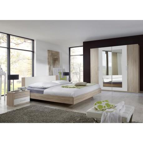 Chambre adulte complète chêne clair et blanc - Cbc-Meubles