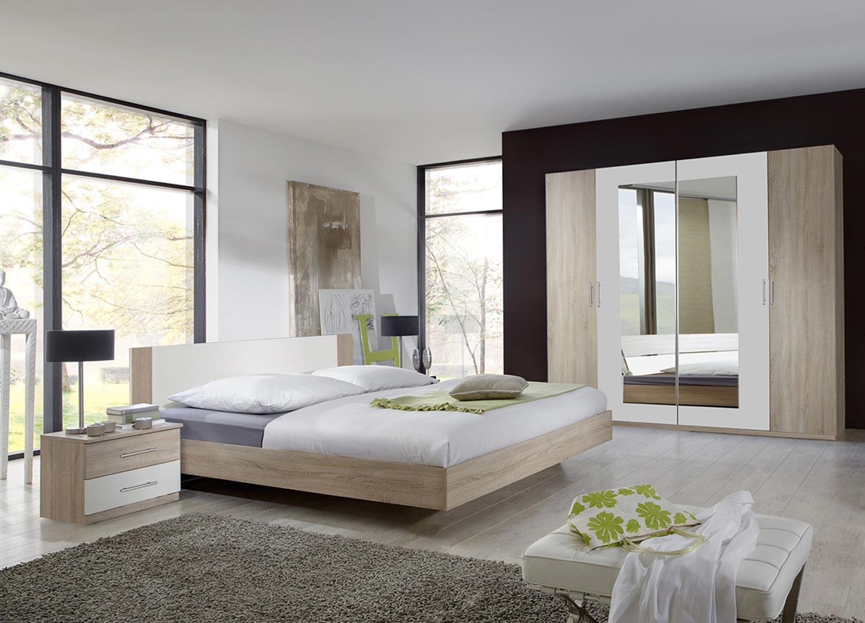 Chambre adulte complète chêne clair et blanc