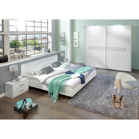 Chambre adulte compl te design blanche cbc meubles for Mobilier chambre adulte complete design