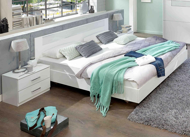 Lit adulte design blanc 140x200 cm