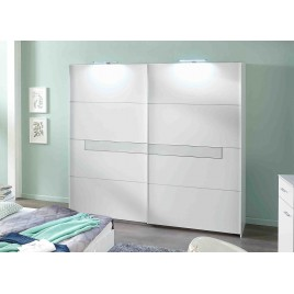 Armoire 2 portes blanche et verre blanc 225 cm