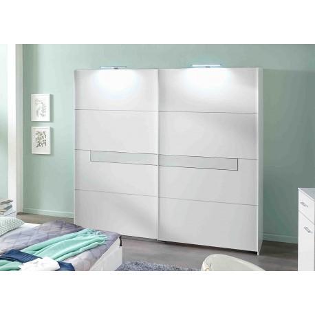 Armoire 2 portes blanche et verre blanc 2m70