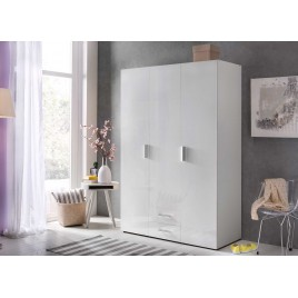 Armoire dressing 3 portes blanc brillant
