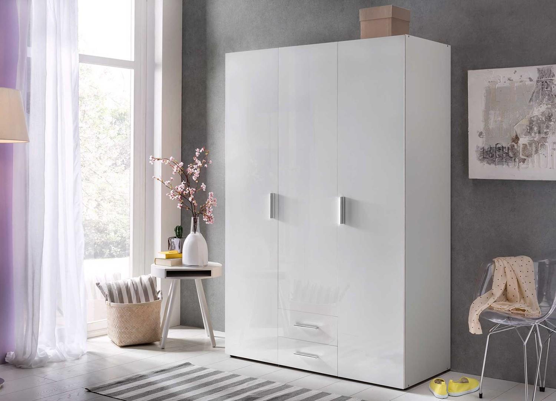 Armoire dressing 3 portes blanc brillant