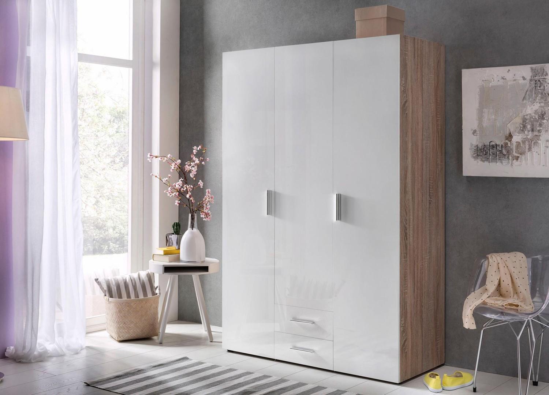 Armoire dressing 3 portes blanc brillant et décor chêne