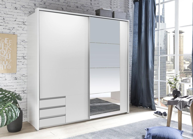 Armoire blanche avec miroir 2 portes coulissantes