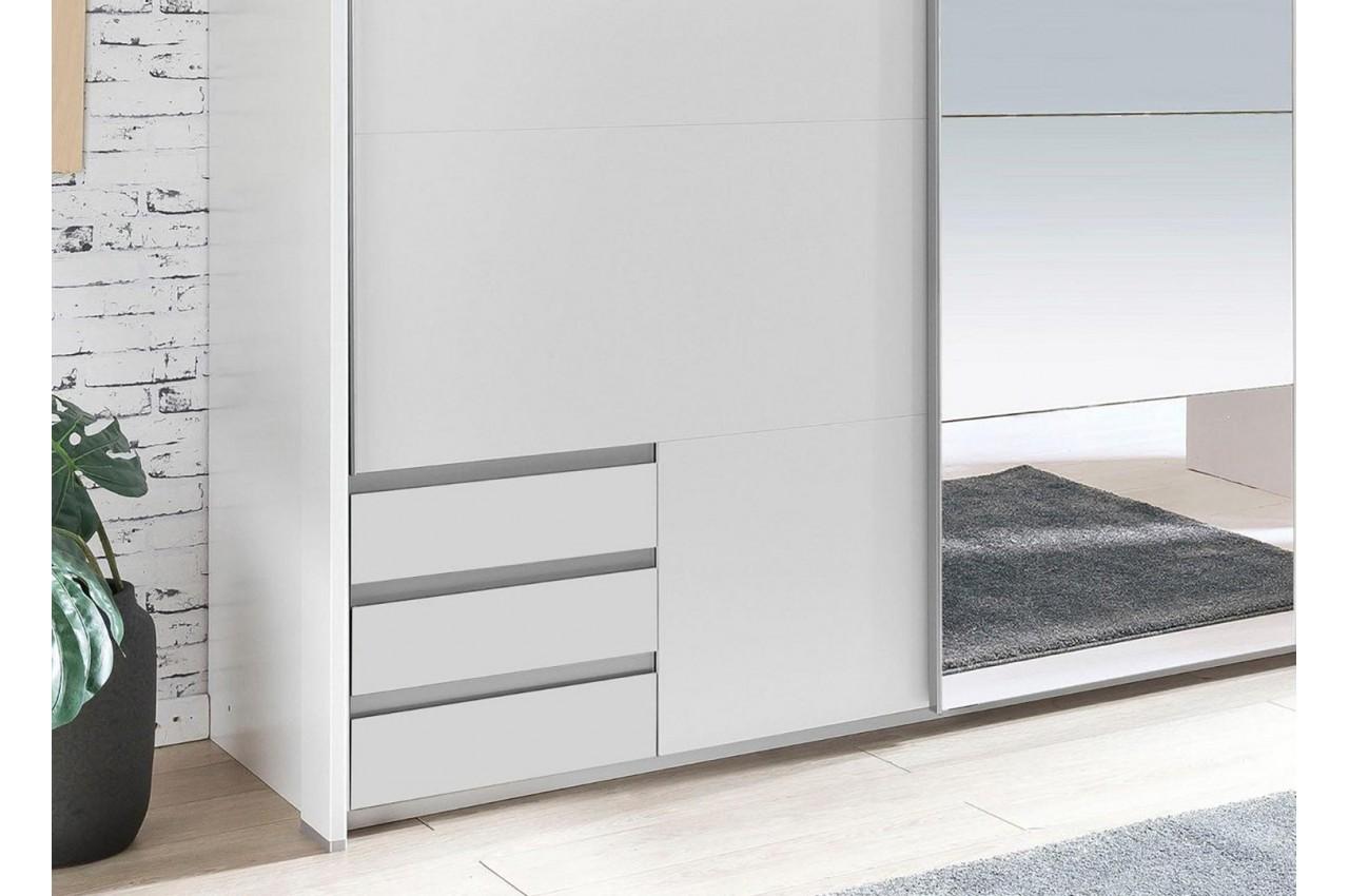 armoire blanche avec miroir 2 portes coulissantes cbc. Black Bedroom Furniture Sets. Home Design Ideas