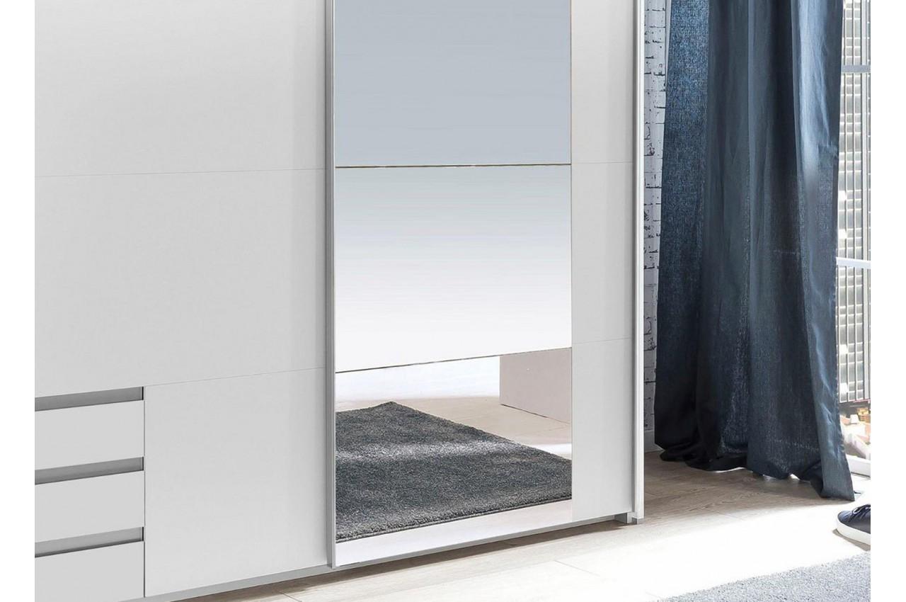 armoire blanche avec miroir 2 portes coulissantes  cbc