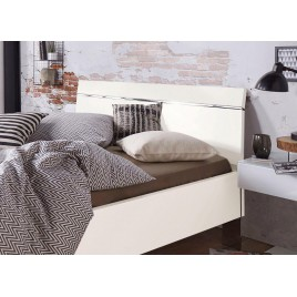 lit 2 personnes acacia clair et blanc 140x200 mao cbc. Black Bedroom Furniture Sets. Home Design Ideas
