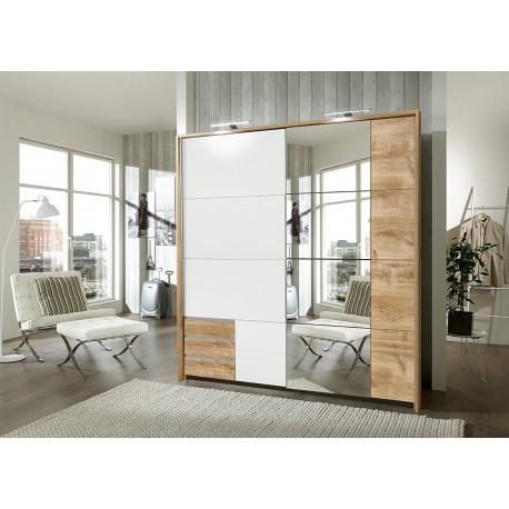 Armoire blanche et chêne avec miroir 2 portes coulissantes