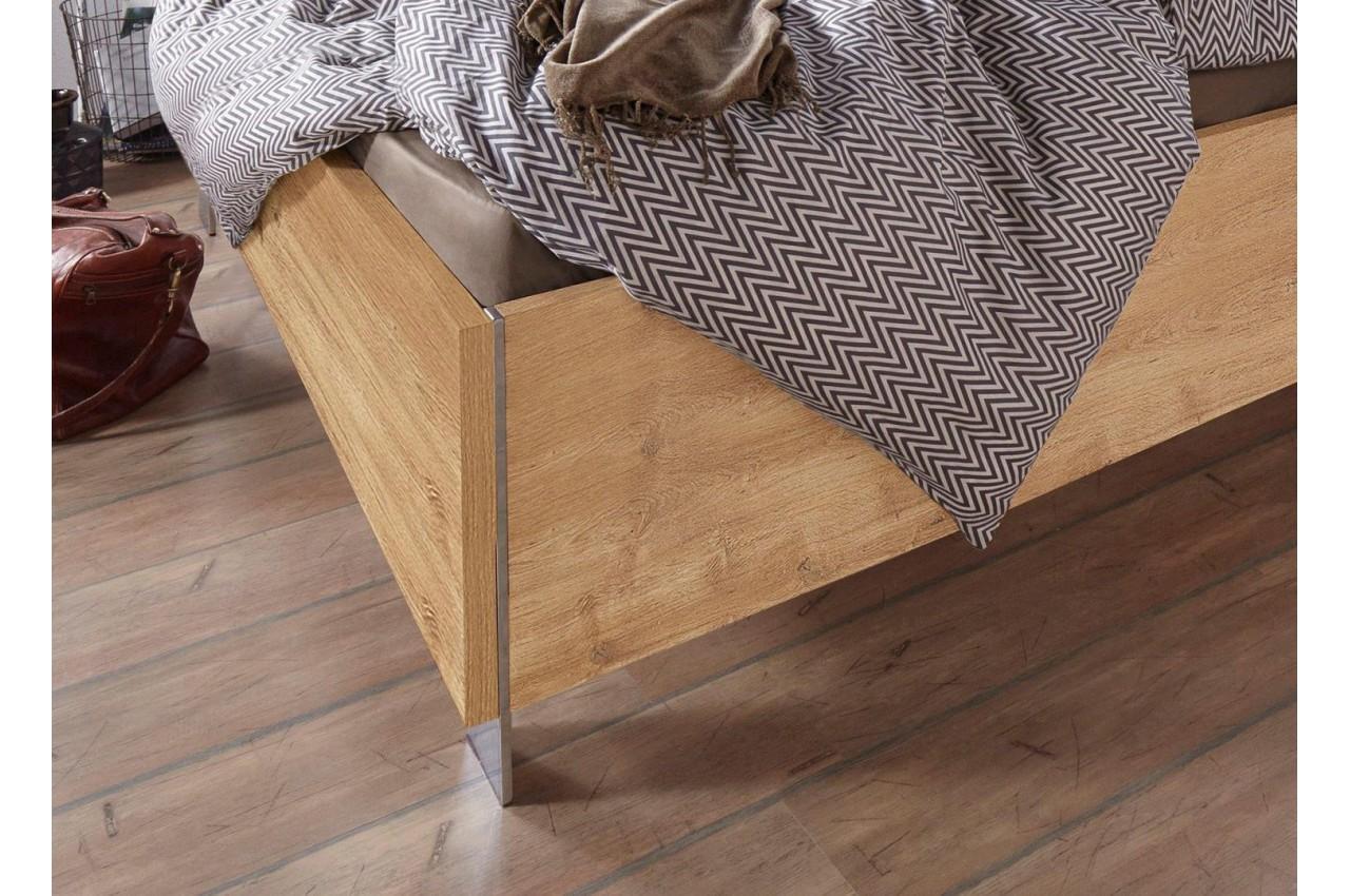 lit adulte bois ch ne poutre 140x200 cm cbc meubles. Black Bedroom Furniture Sets. Home Design Ideas