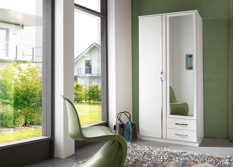 Armoire blanche 2 portes et 2 tiroirs 90 cm