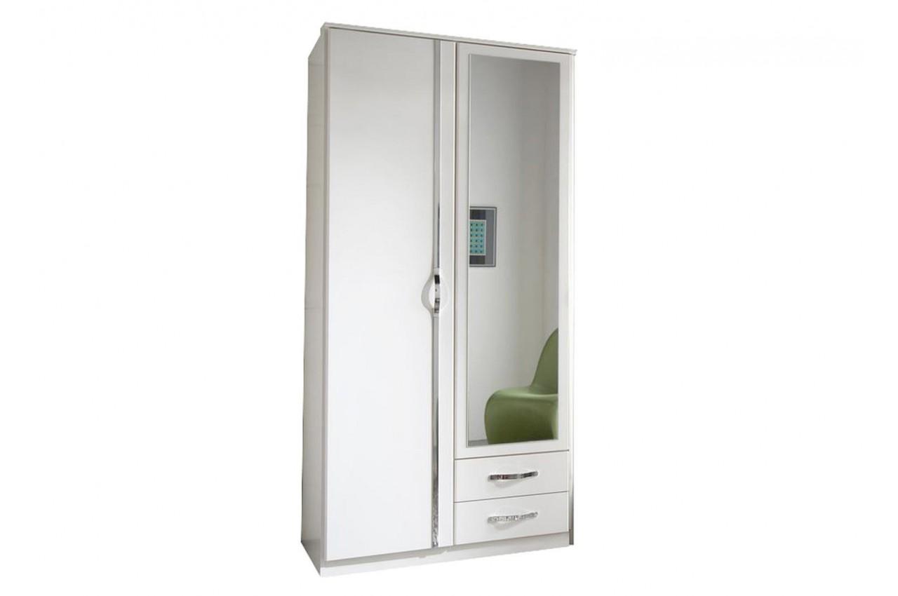 Armoire blanche 2 portes et 2 tiroirs 90 cm cbc meubles - Portes interieures pas cher ...