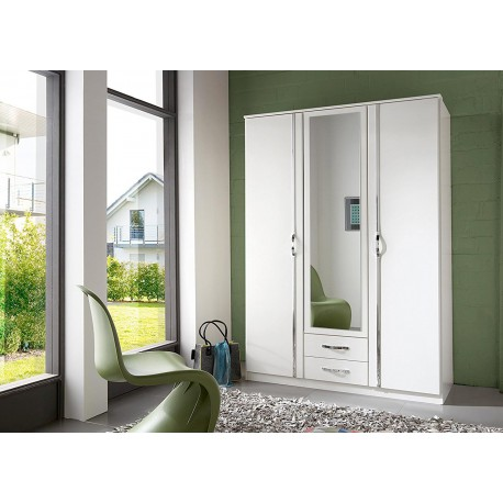 Armoire blanche 3 portes et 2 tiroirs 135 cm