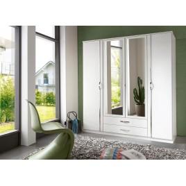 Armoire blanche 4 portes et 2 tiroirs 180 cm
