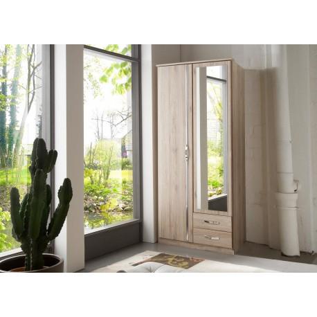 Armoire chêne 2 portes et 2 tiroirs 90 cm