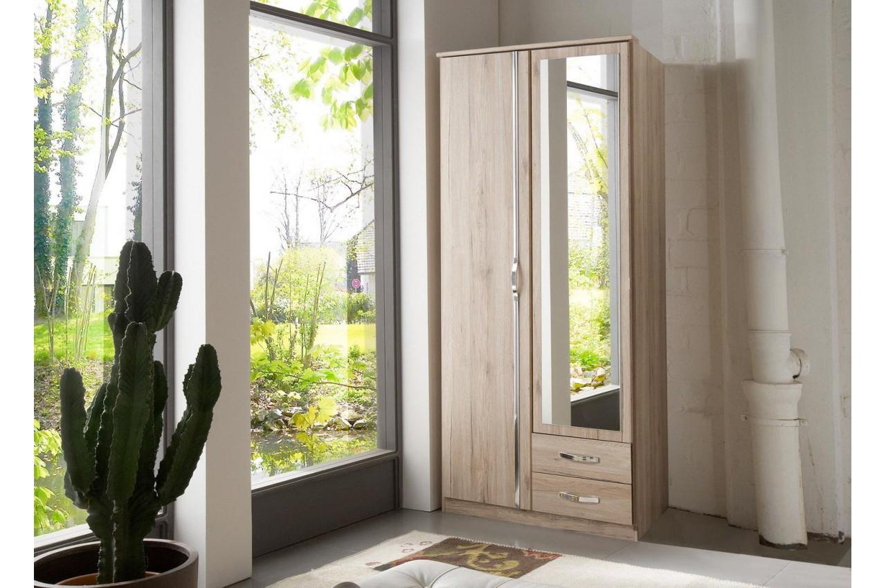 armoire ch ne 2 portes et 2 tiroirs 90 cm cbc meubles. Black Bedroom Furniture Sets. Home Design Ideas