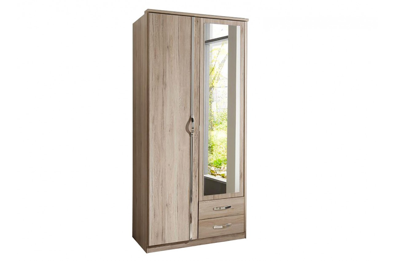armoire ch ne 2 portes et 2 tiroirs 90 cm cbc meubles. Black Bedroom Furniture Sets. Home Design Ideas